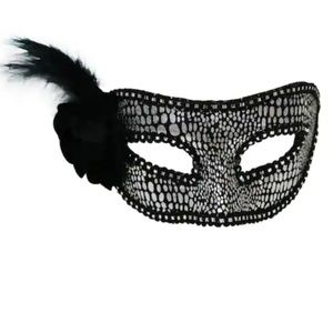 Halloween Party Mask W/ Flower & Feather Imagin8